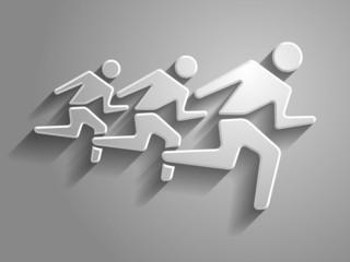 3d Vector illustration of  running mans icon
