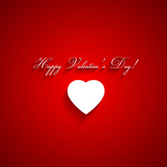 Valentines day red background with white heart