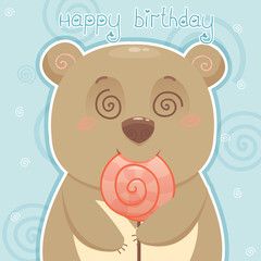 Bear with candy, birthday card