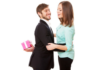 Man giving a present to his wife