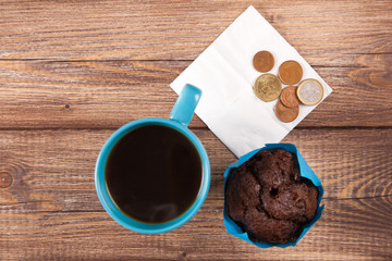 Chocolate muffin with coffee