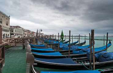 Gondolas in winter Venice