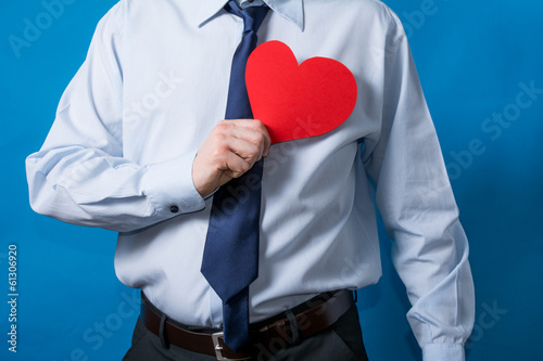 man shows heart