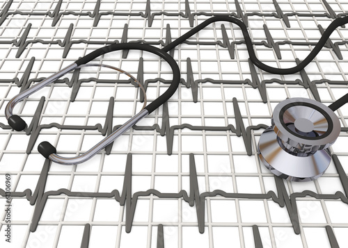 Stethoscope and Cardiogram - 3d