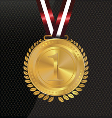 Vector gold medal and laurels