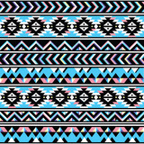 Tribal aztec seamless blue and pink pattern