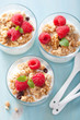 healthy breakfast with yogurt granola and raspberry