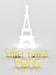 Elegant background with Eiffel Tower and Paris 3d text