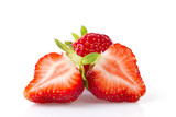 Isolated juicy strawberries over white background
