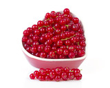 Fresh red currant berries fruit over white background