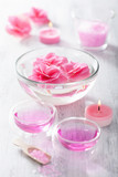pink flower salt and essential oil for spa