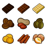 Chocolate and coffee icon set