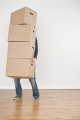 Person Carrying Moving Boxes