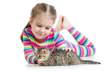 Happy child girl with cat kitten