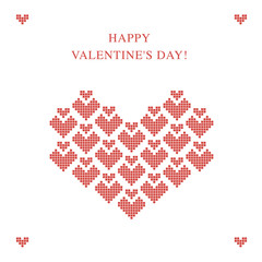 Valentines day greeting card with pixel hearts