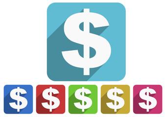 us dollar flat icon vector set