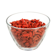 Glass bowl with goji berries