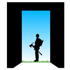 worker front of the door color vector