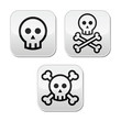Cartoon skull with bones vector buttons set