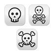 Cartoon skull with bones vector buttons set