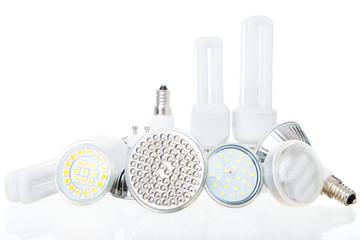 LED lamps on white