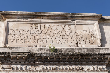 Inscription in The Arch of Titus, Rome, Italy