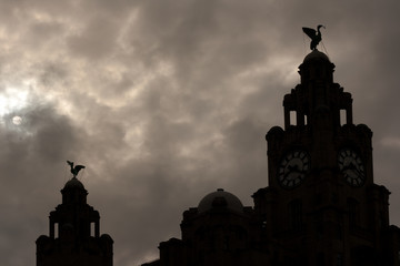 Liver Buildings silhouette against moonlit sky