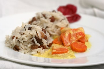 Vegetarian lunch, sweet rice with raisins and carrot