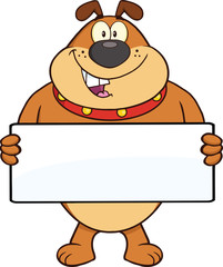 Brown Bulldog Cartoon Mascot Character Holding A Banner