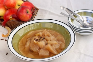 Fresh homemade apple compote with cinnamon