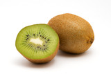 Kiwi and a half kiwi on a white background
