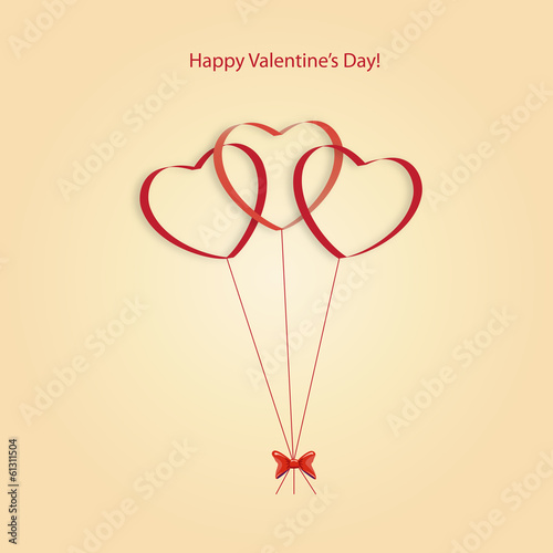 Hearts balloons on a yellow background on Valentine's Day
