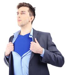 Young business man tearing apart his shirt revealing  superhero