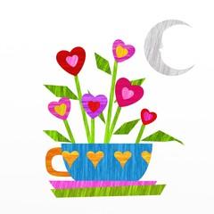 tazzina con fiori a cuore