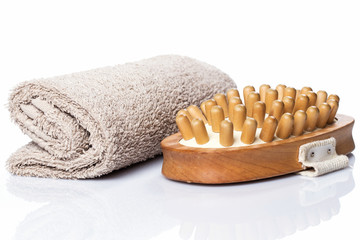 Towel and brush for massage