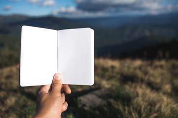 Notebook on the background of picturesque nature and Carpathian