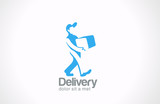 Logo Service Delivery man service carries package