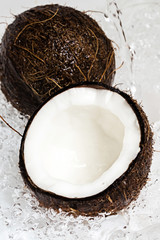 Coconuts and water splash