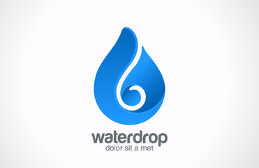 Logo Blue Water drop abstract vector icon design. Waterdrop