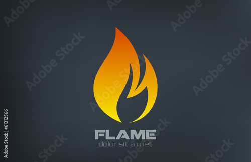 Fire flame Logo vector icon design template.