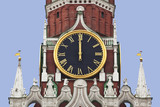 The chiming clock of the Spasskaya tower of the Kremlin. Moscow poster