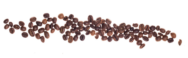 Coffe beans over white background