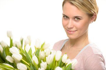Romantic woman with white tulip bouquet