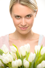 Romantic woman with tulip flowers bouquet