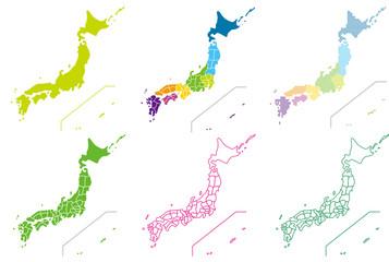 日本地図デザインセット