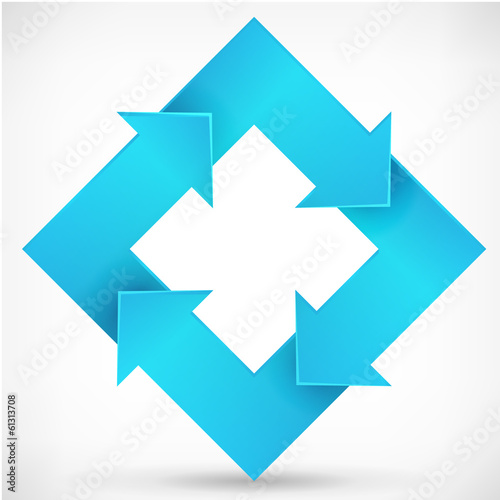 Square rotate arrow blue logo template