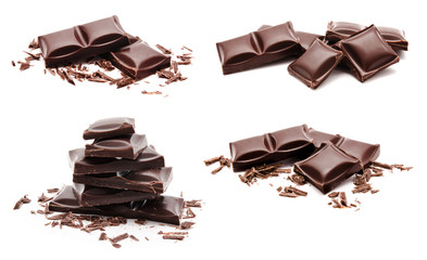 Collection of chocolate bars stack isolated on a white