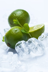 Fresh lime fruit and mint