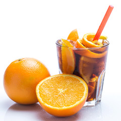 Cold cocktail with orange fruit