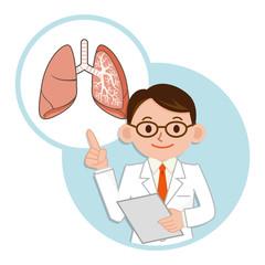 肺の説明をする医師